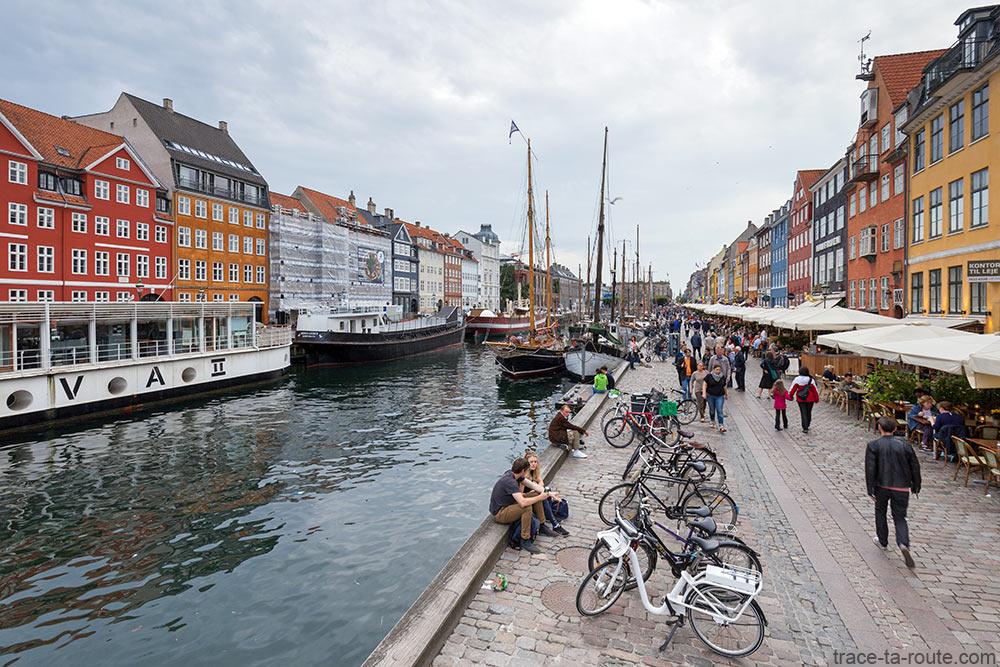 Canal de Nyhavn à Copenhague : quai et façades colorées (Danemark)