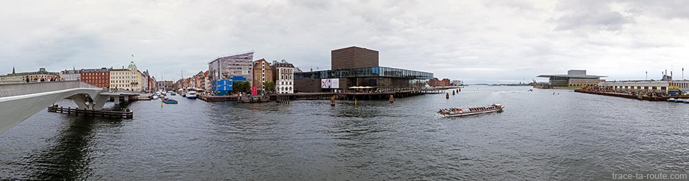 Nyhavn : la rivière Syhavnen, le théâtre Skuespilhuset, Papirøen et l'Opéra de Copenhague, Danemark