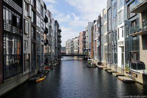 Canal bâtiments Sluseholmen à Copenhague, Danemark