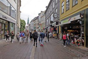 Rue commerçante Strøget à Copenhague, Danemark