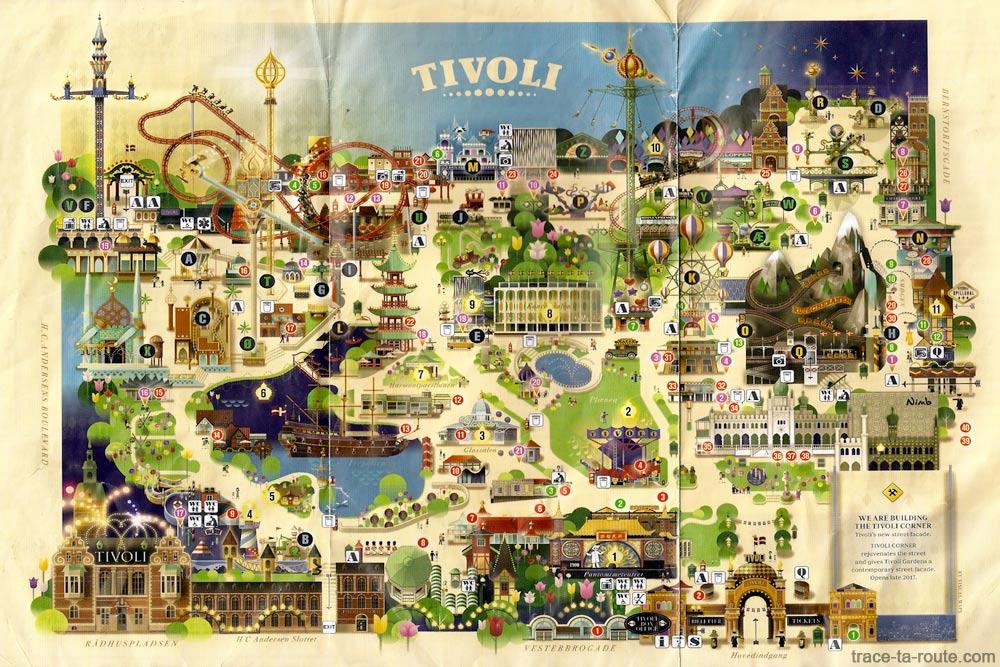 Plan du parc d'attractions les Jardins de Tivoli Gardens à Copenhague, Danemark