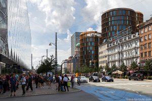 Architecture bâtiments rue vesterbrogade à Copenhague, Danemark