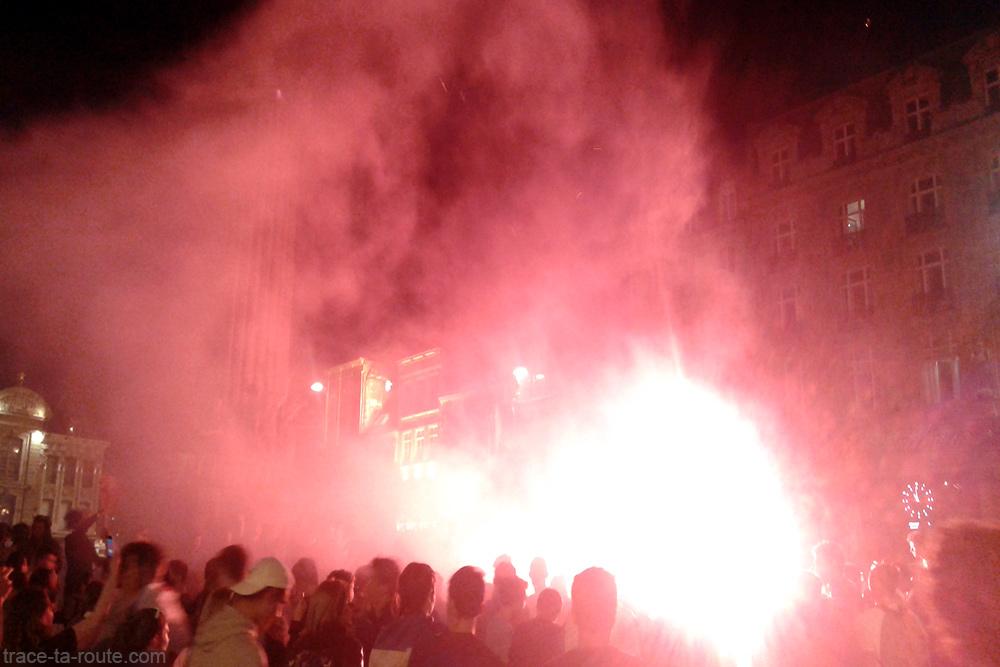 Euro 2016 Football - Demi-finale France Allemagne Fumigène Fête Victoire Grand-Place de Lille