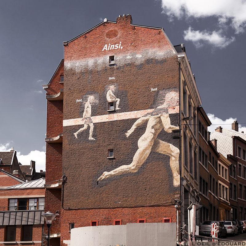 Peinture murale Ainsi font font font - rue pierreuse, Liège © L'Oeil d'Édouard