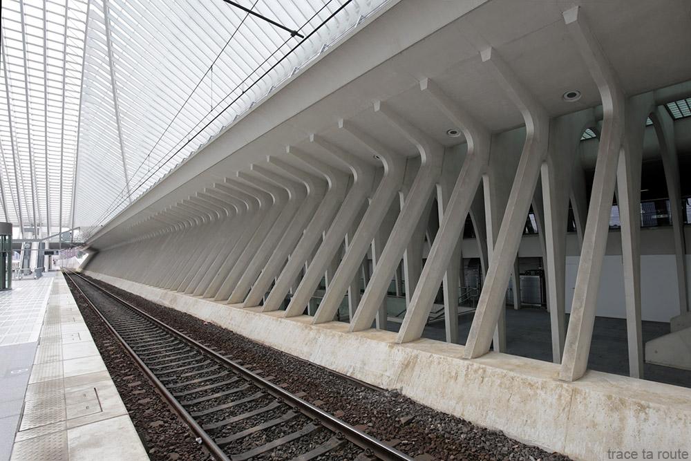 Architecture Gare des Guillemins Liège - Santiago Calatrava - quais rails train