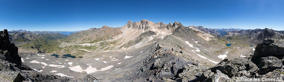 Mont Thabor et Pic du Thabor - Vue Panorama depuis le chemin de crête à la Pointe du Chardonnet - Tour du Mont Thabor
