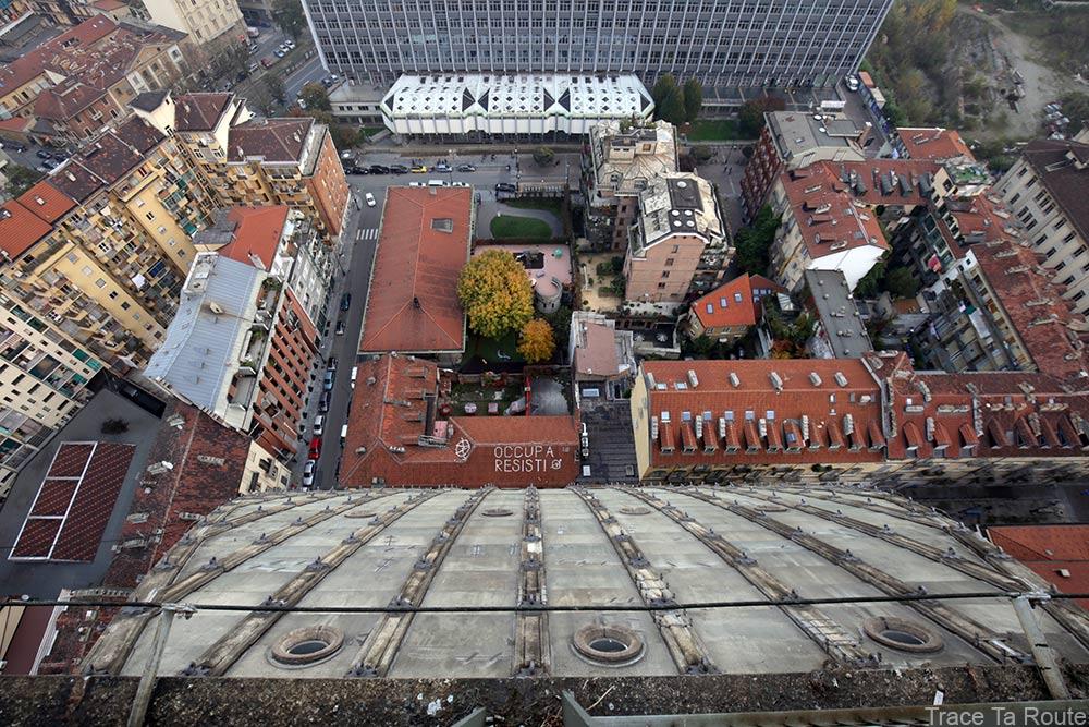 Vue sommet flèche Mole Antonelliana Musée du Cinéma de Turin - Museo Nazionale del Cinema Torino : université toit dome coupole