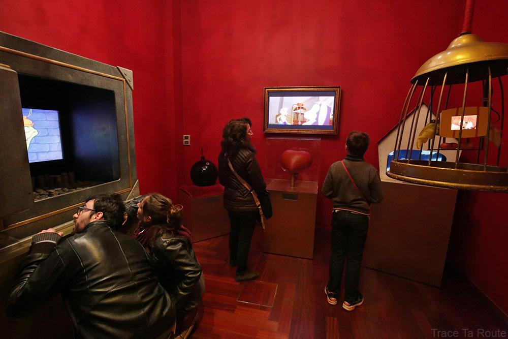 Intérieur Musée du Cinéma de Turin Mole Antonelliana Museo Nazionale del Cinema Torino - salle cartoon