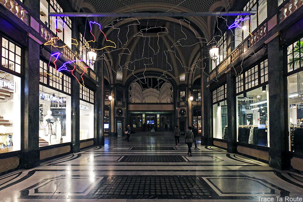 Galleria San Federico de Turin, Cinema Lux - Migrazione (Climate Change) Piero GILARDI - Luci d'Artista Torino