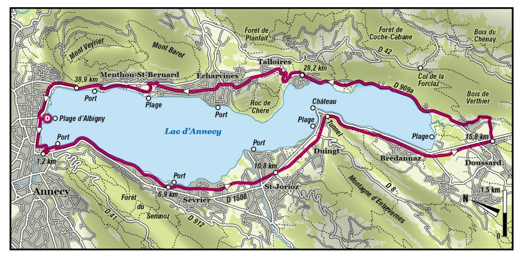 Carte itinéraire du Tour du Lac d'Annecy en vélo © Jean-Jacques Reynier