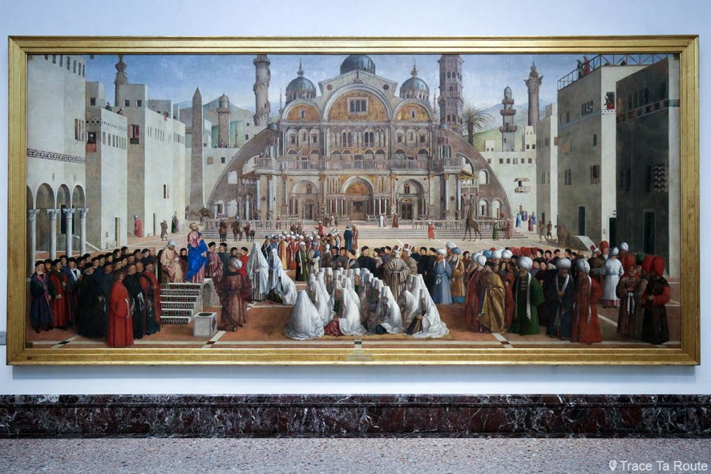 """""""Saint-Marc prêchant sur une place d'Alexandrie en Égypte"""" (1504-1507) Giovanni et Gentile BELLINI - Salle exposition Musée Pinacothèque de Brera, Milan"""