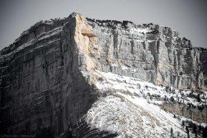 Mont Granier : éboulement pilier face Nord-Ouest du 9 janvier 2016, au-dessus du Col du Granier