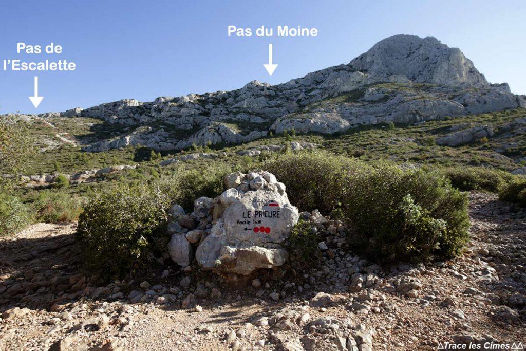 Itinéraires de sentier de randonnée Montagne Sainte-Victoire - Pas de l'Escalette / Pas du Moine