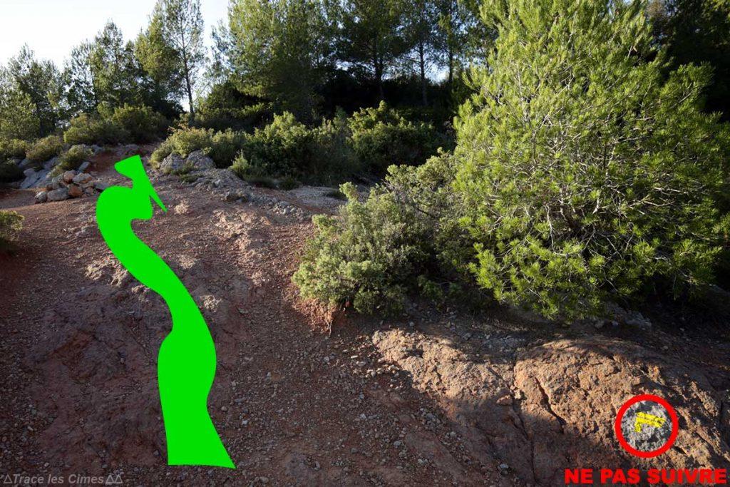 Itinéraire sentier jaune randonnée Montagne Sainte-Victoire - départ depuis le Parking de l'En Chois