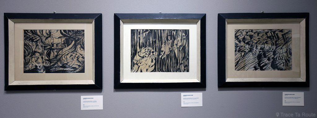 La peinture des états d'âme I, II & III (1912) Umberto BOCCIONI - Visite exposition Tutti in moto ! (2017) Musée Palazzo Pretorio à Pontedera (Valdera, Toscane, Italie)