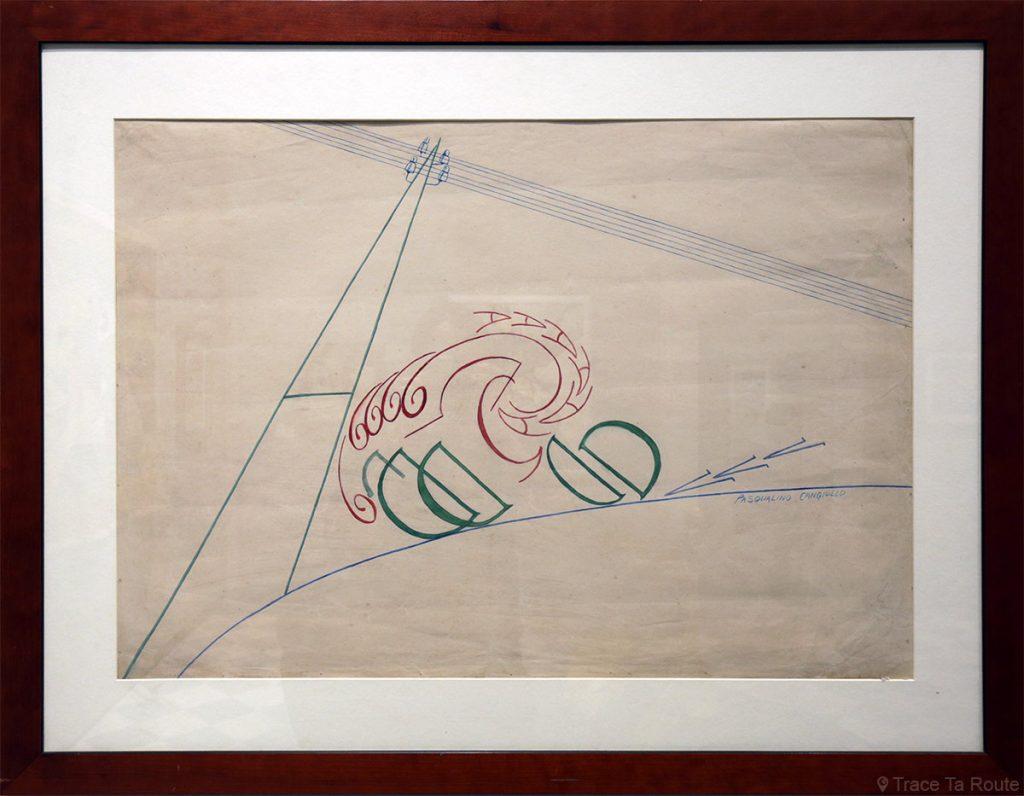Ciclista campione (1917) Pasqualino CANGIULLO - Visite exposition Tutti in moto ! (2017) Musée Palazzo Pretorio à Pontedera (Valdera, Toscane, Italie)