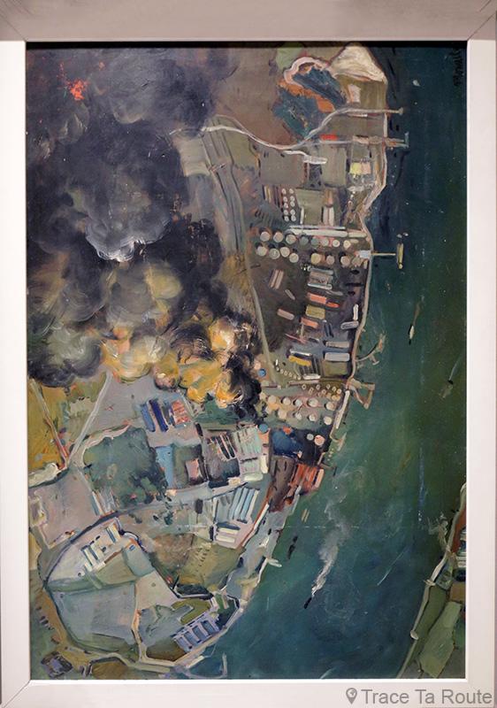 Bombardamento aereo sui serbatoi di nafta di Londra 1941 (1941) Sante MONARCHESI - Visite exposition Tutti in moto ! (2017) Musée Palazzo Pretorio à Pontedera (Valdera, Toscane, Italie)