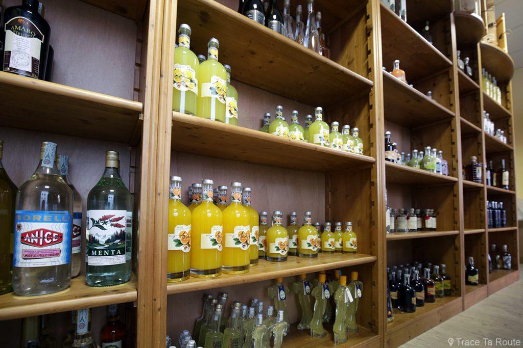 Bouteilles d'alcools dans la distillerie Grapperia Morelli, Palaia (Valdera, Toscane) Gastronomie Italie