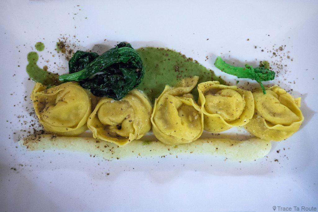 Gastronomie Toscane, Italie - Ravioli à la morue - restaurant La Piccola Lanterna, Pontedera (Valdera)
