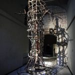 Exposition collection Musée du Duomo de Milan - structure métal sculpture statue Vierge Marie - Museo del Duomo di Milano
