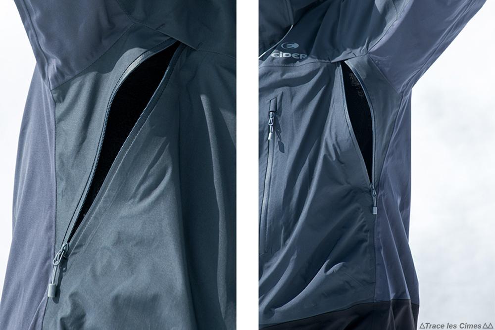 Test veste Gore-Tex Eider Commodore Jacket review (noir) ouvertures latérales aération ventilation