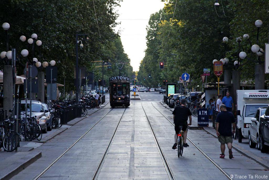 Tramway sur le Corso Sempione de Milan