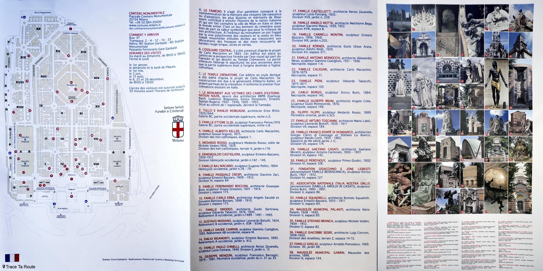 Plan de visite du Cimetière Monumental de Milan