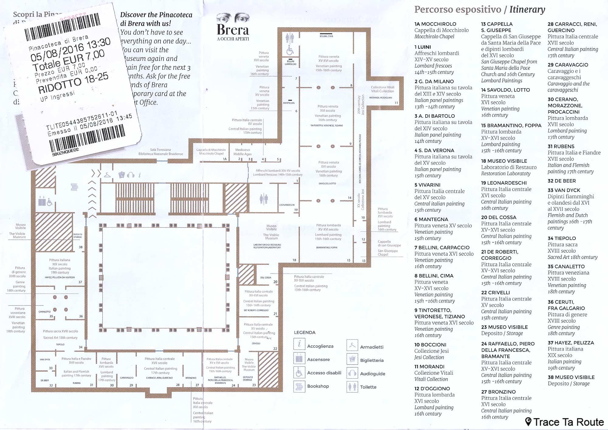 Plan des salles du Musée Pinacothèque de Brera de Milan + billet d'entrée avec prix