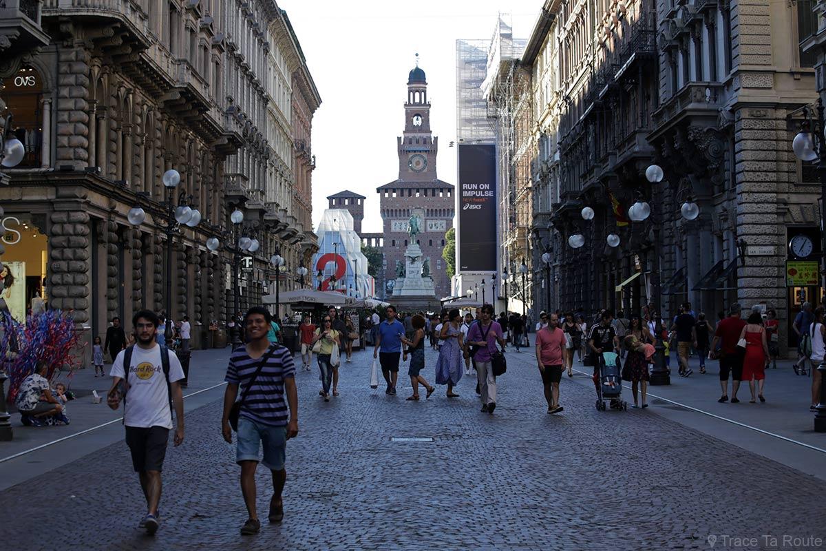 Rue de Milan : Via Dante et Castello Sforzesco, Milano
