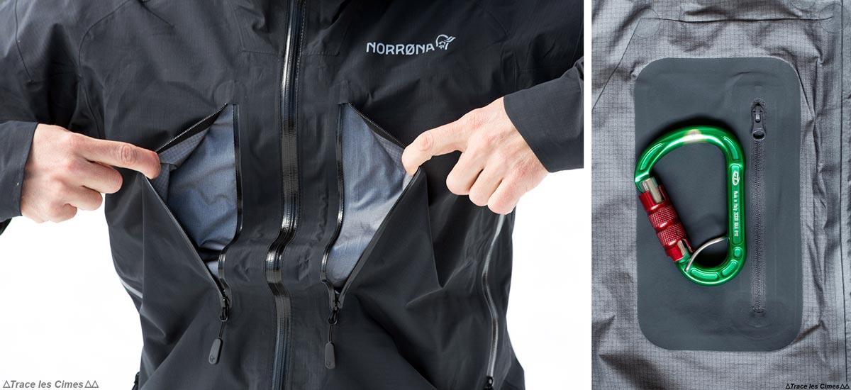 Test Veste Gore-Tex TROLLVEGGEN NORRØNA review : poches extérieur et intérieur