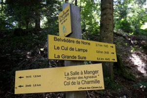 Panneau itinéraires randonnées du parking de la Chartreuse du Curière - Massif de la Chartreuse