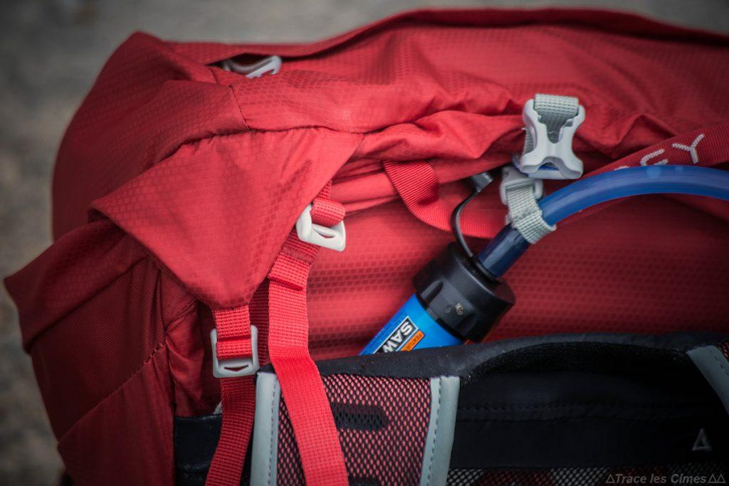 Sac à dos Osprey Talon 44 : Système d'hydratation Poche à eau Source WidePac + Filtre à eau Mini Sawyer water filtering kit