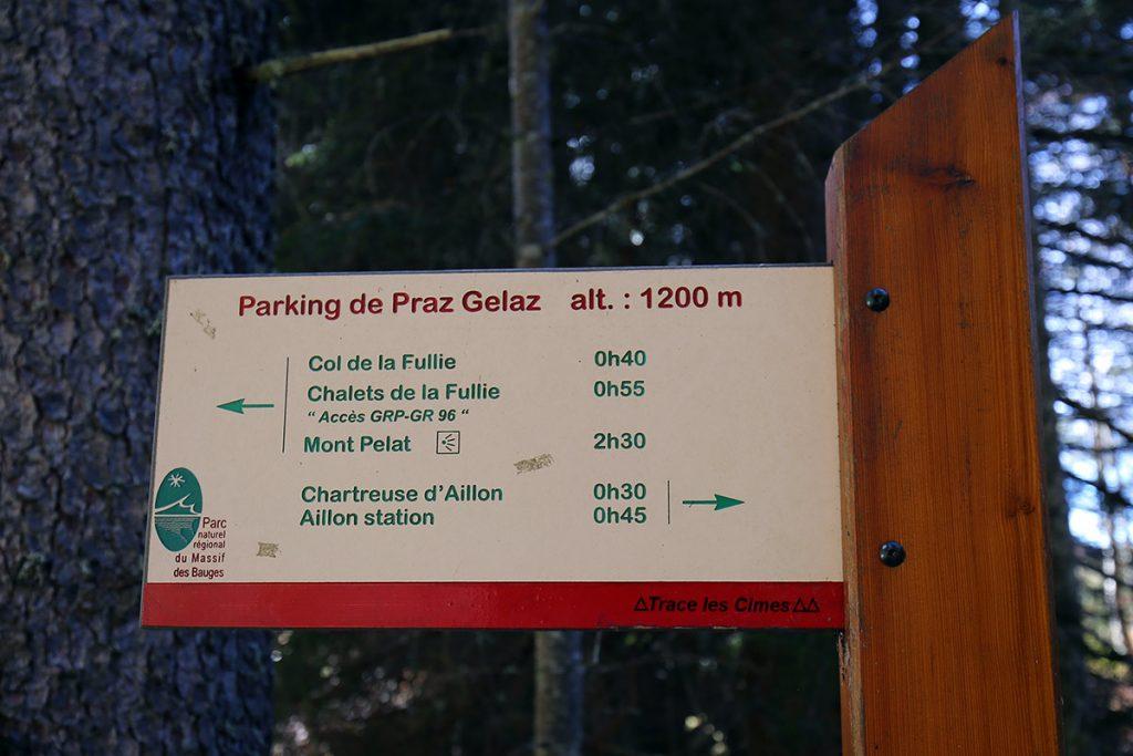 Itinéraires randonnées Mont Colombier Parking Praz Gelaz, Massif des Bauges