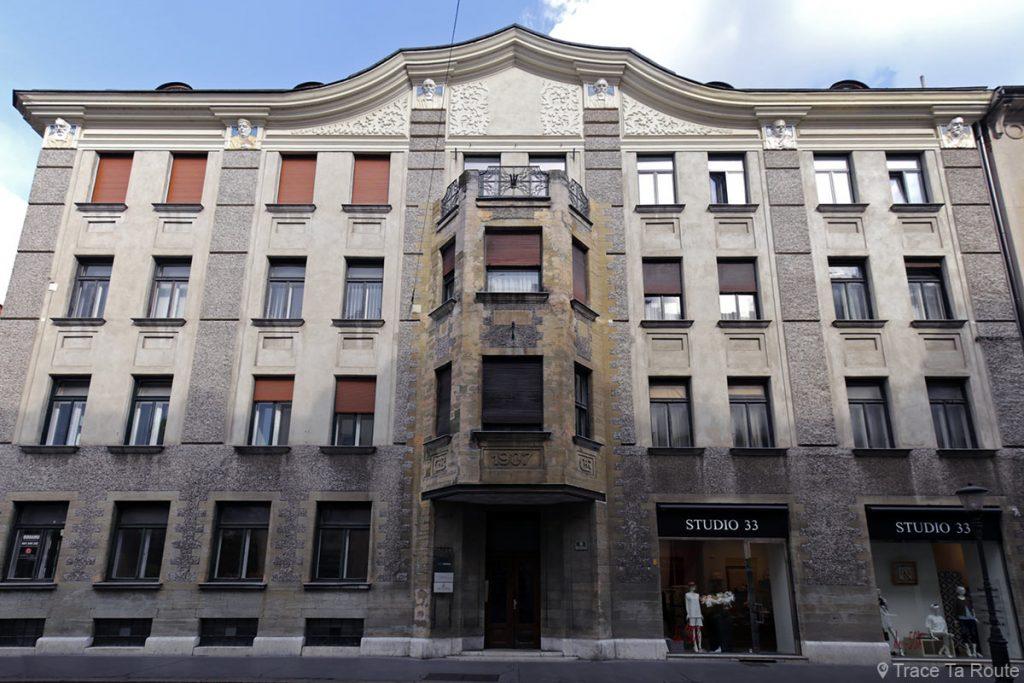 Bâtiment Art Nouveau Maison Bamberg Hôtel Alibi M14, Ljubljana, Slovénie - Slovenia / Slovenija