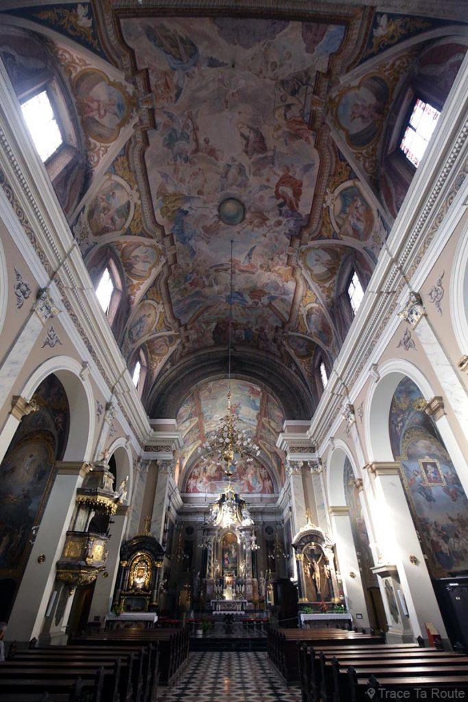 Nef intérieur de l'Église Franciscaine Sainte-Marie-de-l'Annonciation (Cerkev Marijinega oznanjenja) sur la Place Prešernov trg de Ljubljana, Slovénie