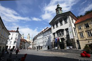 Hôtel de ville de Ljubljana dans la rue Mestni trg, Slovénie - Slovenia / Slovenija