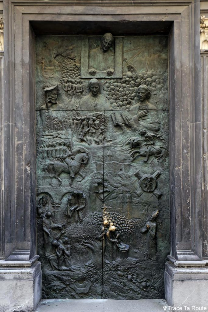 Portes en bronze sculptées par Mirsad Begić - Cathédrale Saint-NicolasStolnica svetega Nikolaja de Ljubljana, Slovénie