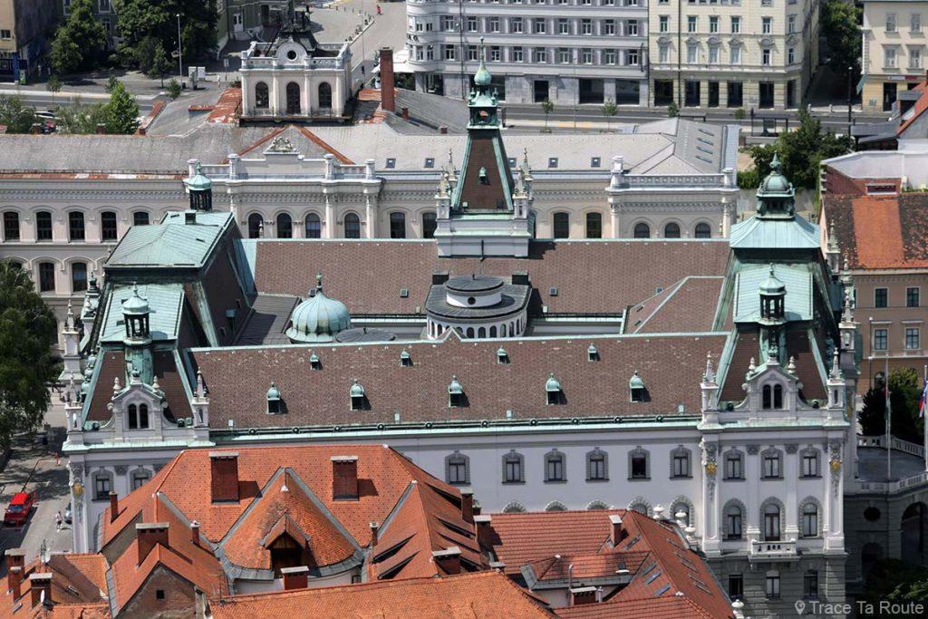 L'Université de Ljubljana depuis la Tour de Guet du Château Ljubljana Grad, Slovénie
