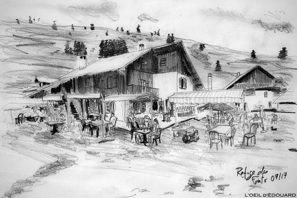 Dessin du Refuge des Fonts de Cervières - Queyras, Hautes-Alpes