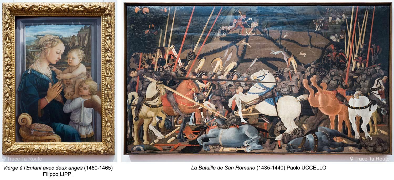 Vierge à l'Enfant avec deux anges (1460-1465) Filippo LIPPI / La Bataille de San Romano (1435-1440) Paolo UCCELLO - Musée de la Galerie des Offices de Florence (Galleria degli Uffizi di Firenze)