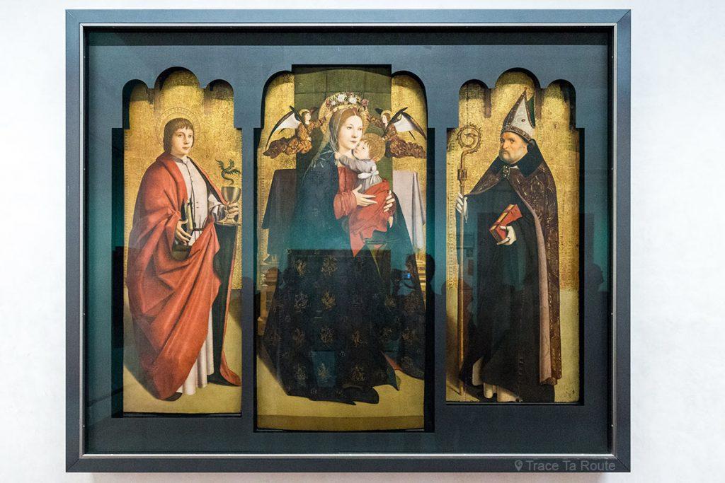 Saint-Jean l'Évangéliste, Vierge à l'Enfant et Saint-Benoit (1470-1475) Antonello da MESSINA - Musée de la Galerie des Offices de Florence (Galleria degli Uffizi di Firenze)