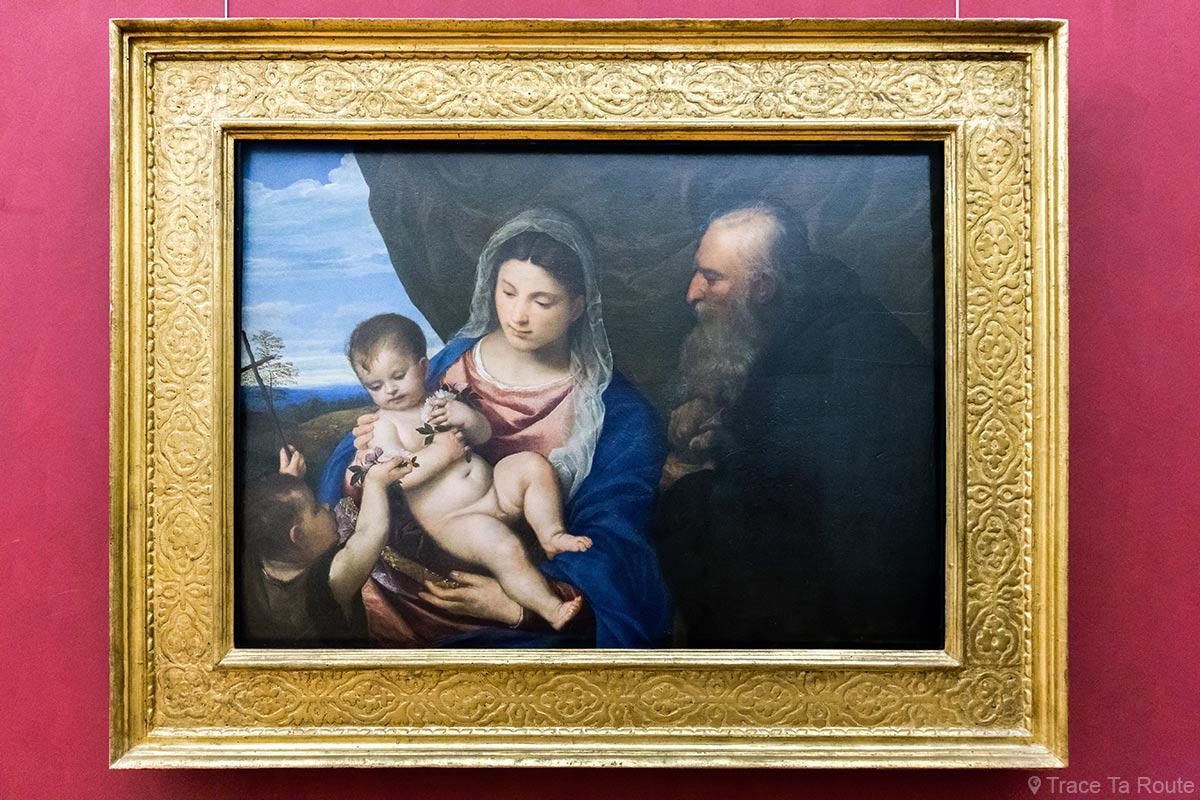 Madone aux roses (vers 1530) TITIEN - Musée de la Galerie des Offices de Florence Italie - Madonna Tiziano Galleria degli Uffizi di Firenze Italia Italy art painting museum