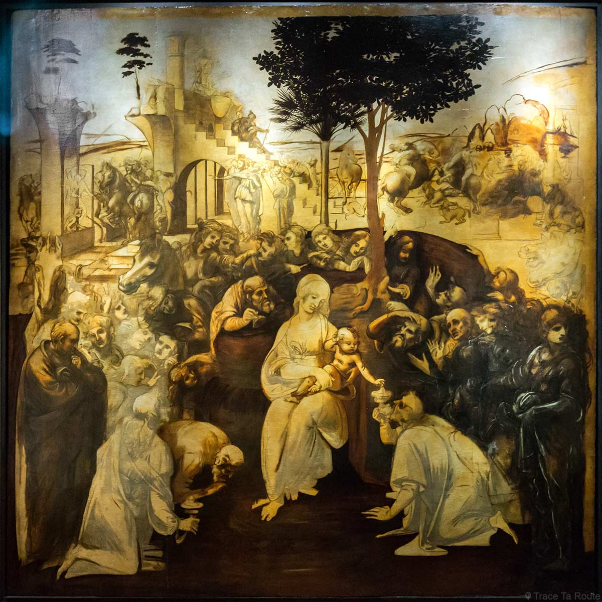 """Carton restauré de """"L'Adoration des Mages"""" (1481) Léonard de VINCI - Musée de la Galerie des Offices de Florence (Galleria degli Uffizi di Firenze)"""