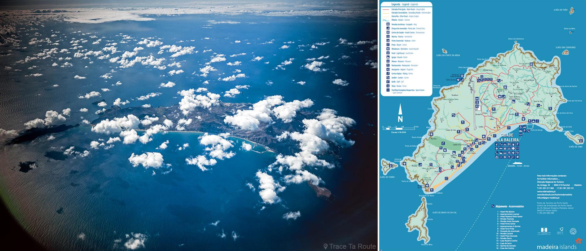Carte de l'Île de Porto Santo de Madère + vue aérienne depuis l'avion au-dessus de l'Océan Atlantique - Map Madeira Islands