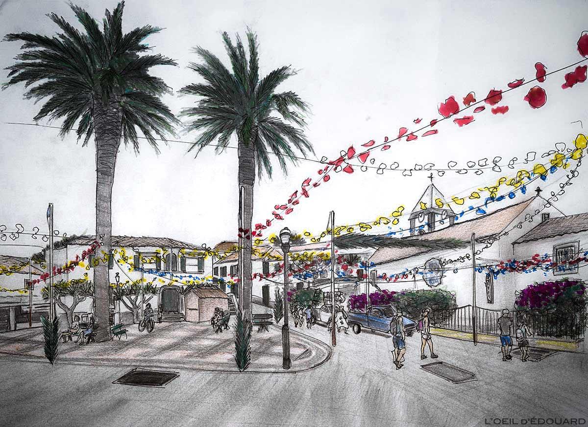 Place Largo do Pelourinho : ancienne Mairie Antiga Câmara Municipal et Église Igreja ssa Senhora da Piedade de Vila Baleira, Île de Porto Santo, Madère / Madeira Islands - Dessin