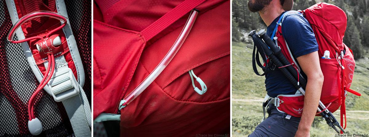 Test Sac à dos Osprey Talon 44 litres : système fixation bâtons de marche Stow-on-the-Go™