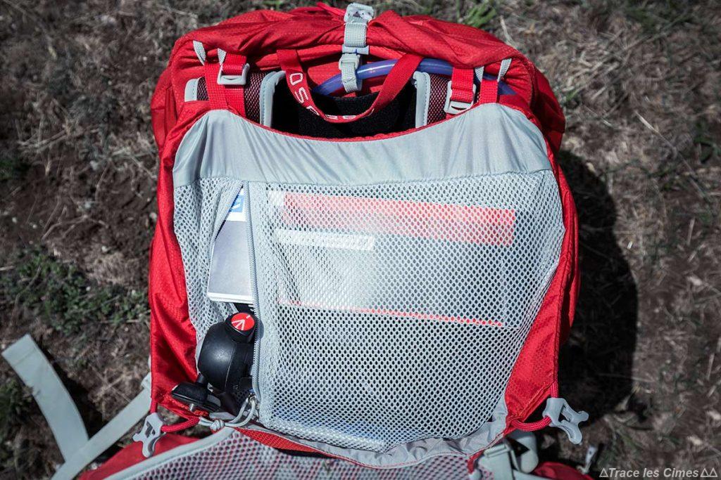 Test Sac à dos Osprey Talon 44 litres : poche intérieure compartiment supérieur