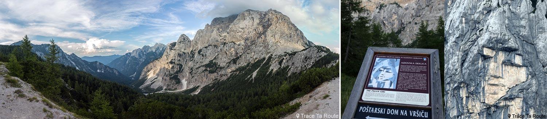 Vallée Vršiška cesta, Kranjska Gora et falaises de la montagne Prisojnik avec le visage humain Ajdovska Deklica (The Pagan Girl) au Col de Vršič, Alpes Juliennes - Voyage Road Trip en Slovénie, Slovenia