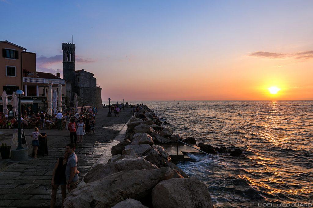 Coucher de soleil sur la Mer Adriatique depuis Piran, Slovénie - Slovenia / Slovenija