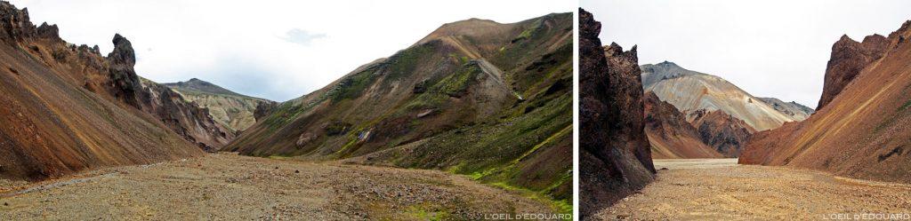 Paysage Ravine et Blahnukur en fond, Landmannalaugar Islande / Iceland landscape, Islenk